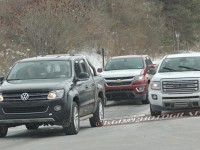 These spy photos show a VW Amarok, Chevy Colorado diesel and a GMC Canyon testing together in Milford, MI.